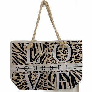 Love Yourself Animal Print Beach Bag